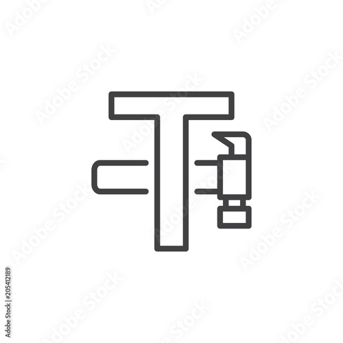 Letter T And Hammer Outline Icon Linear Style Sign For Mobile