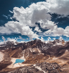 Wall Mural - The wonderful natural scene the bright blue sky with white clouds above the mighty snow-capped Himalayas and Gokyo Lake. Everest Base Camp trek in the Sagarmatha national Park in north-eastern Nepal.