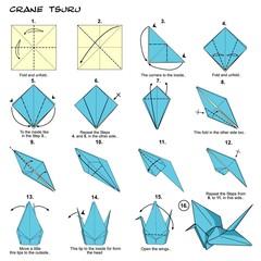 Origami crane steps