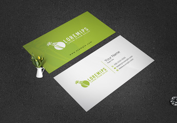 Business Card Layout with Palm Tree Elements