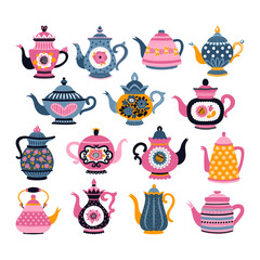 Set with teapots. Can be used for scrapbook, postcards, print, etc.