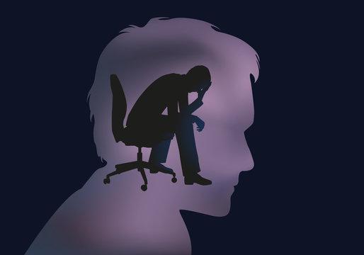 dépression - stress - burn out - désespoir - burnout - bureau - déprime - entreprise - concept - chômage