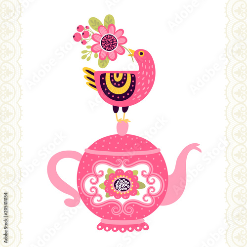 Greeting card or invitation with bird and teapot. Can be used for ...