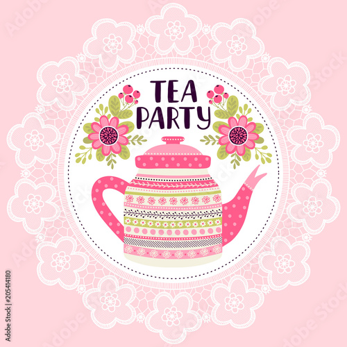 Template Greeting Card Or Invitation With Flowers And Teapot Can Be Used For Scrapbook