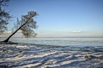 Winter seaside landscape.Winter seaside landscape.