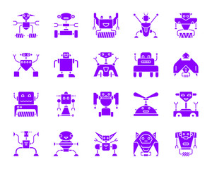 Robot color silhouette icons vector set