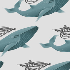Seamless texture with blue whales. Modern repeating background. Tile pattern.
