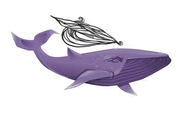 Graphic cartoon illustration of blue whale, isolated on a white background. The whale  with fountain.