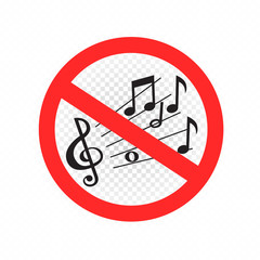No music sound sign symbol icon on white transparent background. Forbidden song sing be quiet. Round red label and line cross the musical notes