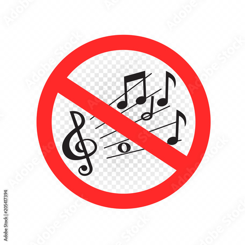 No Music Sound Sign Symbol Icon On White Transparent Background
