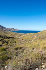Sea and mountain on the coast of Carboneras, Almeria