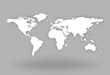 World Map Globe with shadow - stock vector.