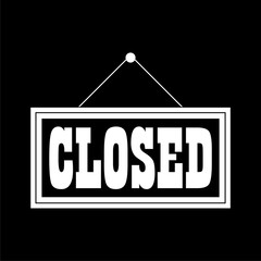 Closed Sign icon on dark background