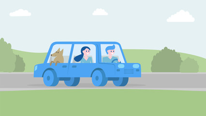 Happy family traveling together by car. Vector illustration.