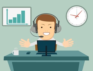 Smiling male operator with headset working at call center. Customer service concept. Stock flat vector illustration.