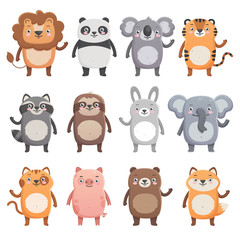 Cute smiling animals set. Lion, panda, koala, tiger, bear, pig, fox, sloth, raccoon, cat. Simple flat style, isolated vector  illustrations on white background