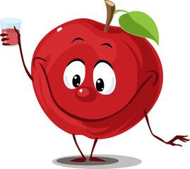 Apple fruit with juice glass -  funny cartoon flat design vector illustration