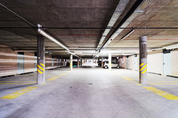 Underground Parking garage at modern building