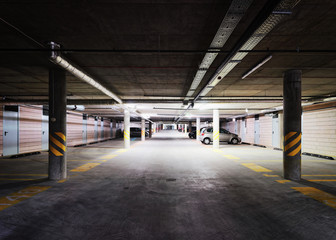 Underground Parking garage in modern building