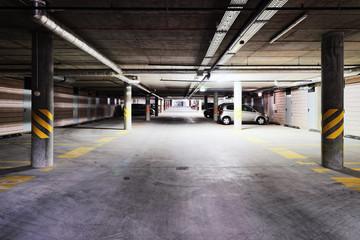 Underground Parking garage of modern building