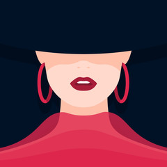 Portrait of a woman in a hat. The face of a beautiful girl. Vector flat illustration