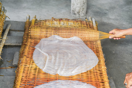 Preparation of homemade plain noodle on street Can Tho Vietnam