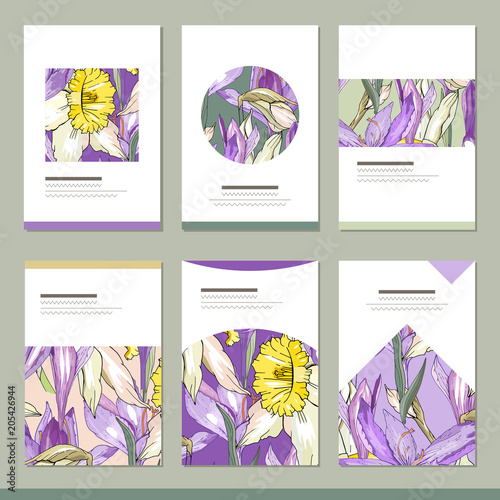 set with six floral romantic templates narcissus and crocus stock