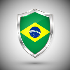 Brazil flag on metal shiny shield vector illustration. Collection of flags on shield against white background. Abstract isolated object
