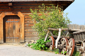 Old wooden house from logs in village