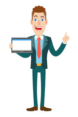 Businessman holding tablet PC and pointing up