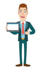 Businessman holding tablet PC and showing thumb up