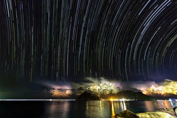 Foto op Aluminium Grandfailure Star trails and thunder storm on Nang Yuan island, Thailand