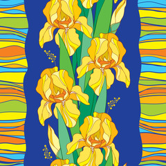 Vector seamless pattern with outline yellow Iris flower, bud, green leaf and stripes on the blue background. Floral background with ornate Iris in contour style for spring or summer design.