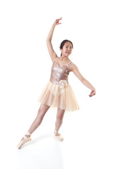 Young Ballerina Making a Ballet Pointe Movement