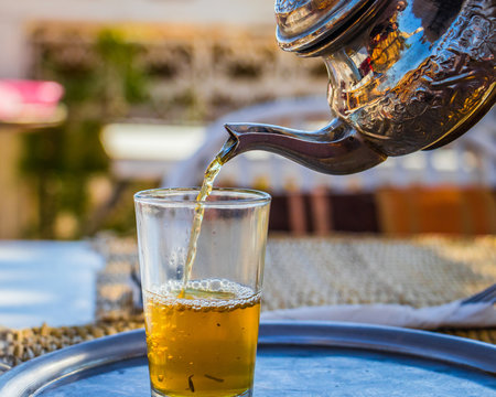 Moroccan whiskey of mint tea with sugar