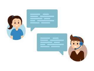 Flat vector people chating online. Support service online chat, communication, dialog, concept.