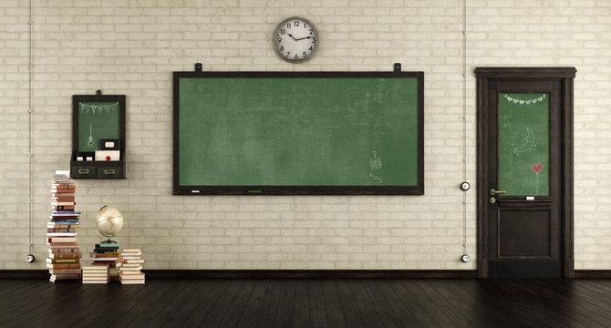 Empty retro classroom