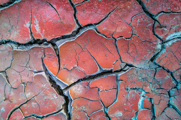 Dry cracked red soil background,texture.