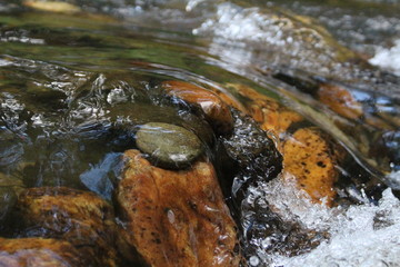 Water flowing over pebbles