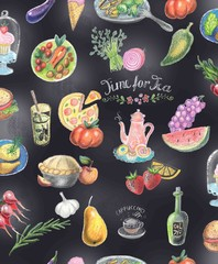 doodle background, pattern vegetables fruits snacks drinks and sweets on a black board background