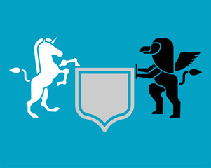 Griffin and Unicorn Shield heraldic symbol. Sign Animal for coat of arms. Vector illustration