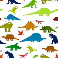 Dinosaurs seamless pattern. Dino texture. Prehistoric monster lizard background. Ancient animal cartoon style. Childrens cloth ornament. Vector illustration