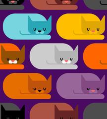Cat sleeps pattern seamless. Sleeping pet ornament. Vector illustration