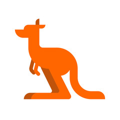 Kangaroo isolated cartoon. Australia animal. Vector illustration