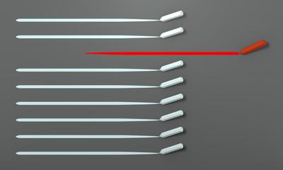 Stift zeichnet Strich, Konzept für Innovation. 3d render