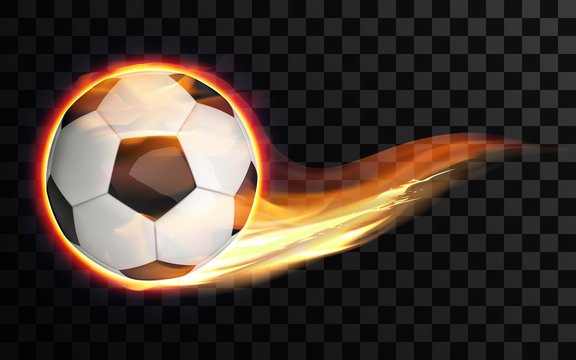 Realistic vector illustration. Flying burning soccer or football ball on transparent background. Glowing fireball on the speed in flame.