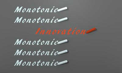 Stift schreibt in deutsch Monotonie und Innovation. 3d render