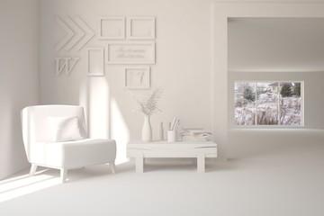 White room with armchair. Scandinavian interior design. 3D illustration