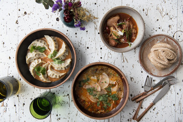 Table full of Himalayan food
