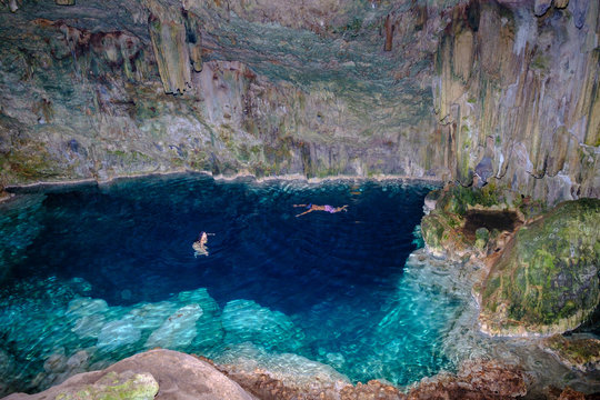 Saturno Cave near Varadero, Cuba. Spectacular colours and a crystal clear freshwater pool in an underground cave.